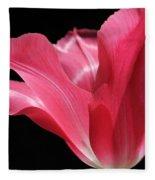 Full Bloom Pink Tulip Flower Fleece Blanket