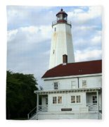 Full View Of Sandy Hook Lighthouse Fleece Blanket