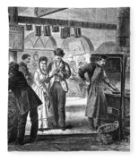 Fulton Fish Market, 1870 Fleece Blanket