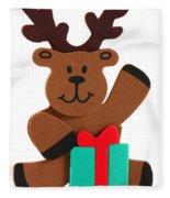 Fun Reindeer Sitting Fleece Blanket