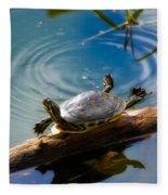 Funny Turtle Catching Some Rays Fleece Blanket