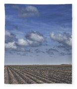Furrows In A Texas Field Fleece Blanket