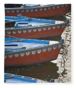 Ganges River, Varanasi, India Moored Fleece Blanket