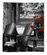 Garden Chairs With Red Flowers In A Pot Fleece Blanket