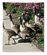 Garden Geese Parade Fleece Blanket