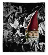 Garden Gnome With Gray Background Fleece Blanket