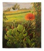 Garden Poppies Fleece Blanket