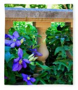 Garden Wall With Periwinkle Flowers Fleece Blanket