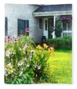 Garden With Coneflowers And Lilies Fleece Blanket