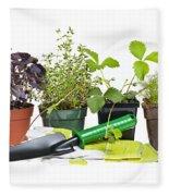 Gardening Tools And Plants Fleece Blanket