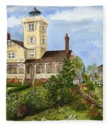 Gardens At Hereford Inlet Lighthouse  Fleece Blanket