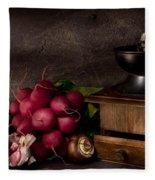 Garlic And Radishes Fleece Blanket