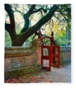 Gate In Brick Wall Fleece Blanket