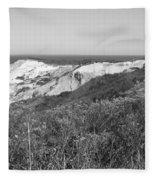 Gay Head Lighthouse With Aquinna Beach Cliffs - Black And White Fleece Blanket