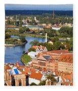 Gdansk Cityscape Fleece Blanket