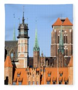 Gdansk Old Town In Poland Fleece Blanket