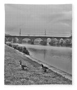 Geese Along The Schuylkill River Fleece Blanket