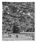 Geese By The River Fleece Blanket