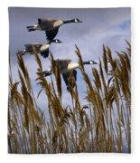 Geese Coming In For A Landing Fleece Blanket