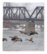 Geese In Flight Fleece Blanket
