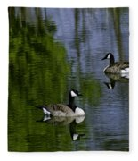Geese On The Pond Fleece Blanket