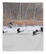Geese Take Flight Over The Maumee River Fleece Blanket