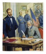 General Ulysses Grant Accepting The Surrender Of General Lee At Appomattox  Fleece Blanket