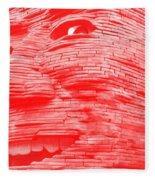 Gentle Giant In Negative Red Fleece Blanket