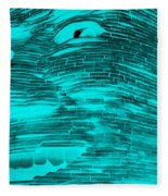 Gentle Giant In Negative Turquois Fleece Blanket