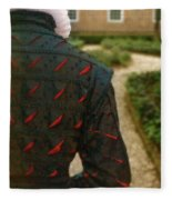 Gentleman In 16th Century Clothing On Garden Path Fleece Blanket