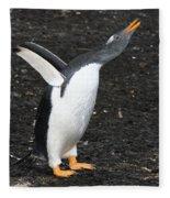 Gentoo Penguin With Something To Say Fleece Blanket