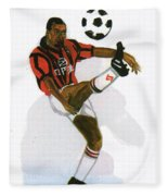 George Weah In Action Fleece Blanket