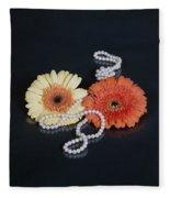 Gerberas With Pearls Fleece Blanket
