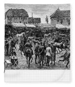 German Market, C1890 Fleece Blanket