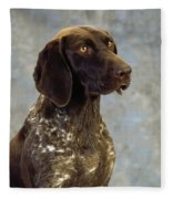 German Pointer Portrait Of A Dog Fleece Blanket