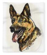 German-shepherd-portrait Fleece Blanket