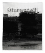 Ghirardelli Square In Black And White Fleece Blanket