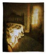 Ghostly Figure In Hallway Fleece Blanket