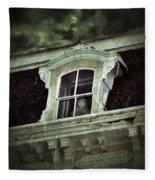 Ghostly Girl In Upstairs Window Fleece Blanket