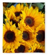 Giant Sunflowers For Sale In The Swiss City Of Lucerne Fleece Blanket