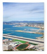 Gibraltar Runway And La Linea Cityscape Fleece Blanket