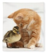 Ginger Kitten And Mallard Duckling Fleece Blanket