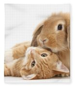 Ginger Kitten Lying With Sandy Lionhead Fleece Blanket