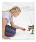 Girl Feeding Kitten From A Spoon Fleece Blanket