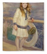 Girl In A Sailor Suit Fleece Blanket