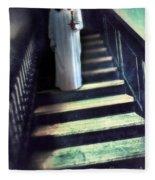 Girl In Nightgown On Steps Fleece Blanket