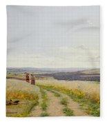 Girl In The Fields   Fleece Blanket