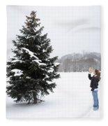Girl Measuring Tree Height Fleece Blanket