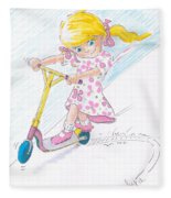 Girl On A Microscooter Cartoon Fleece Blanket