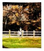 Girl Riding Horse Fleece Blanket